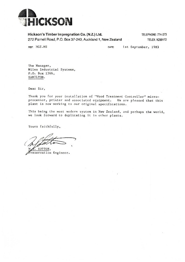 Letter from Hicksons Timber Impregnation