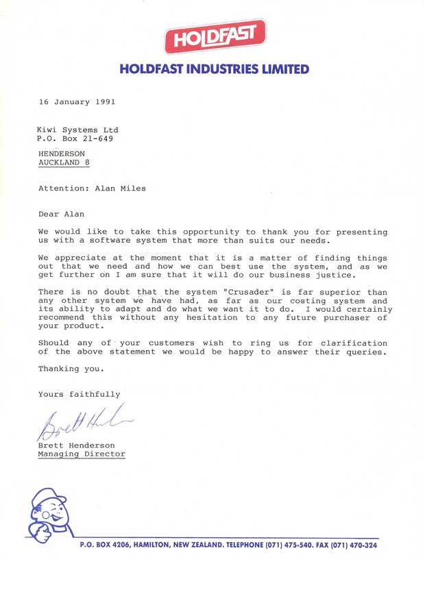Letter from Holdfast NZ